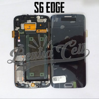 LCD 1SET SAMSUNG S6 EDGE SAMSUNG G925 ORIGINAL BLACK BISA KONTRAS