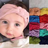bandana wollycrepe motif kepang headband bayi anak