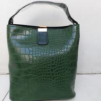 Tas Casual / Hand Bag Wanita Pola Retro Buaya - Green