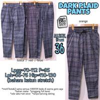 Dark Plaid Pants 36 Celana Panjang Bahan Katun Wanita Jumbo Big Size