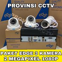 PAKET CCTV EDGE 4 CHANNEL 3 KAMERA 2MP FULL HD 1080P KOMPLIT HDD 500GB
