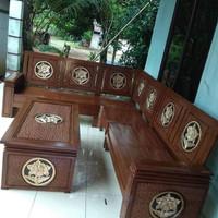 Kursi Tamu Sudut Minimalis Kayu Jati Murah - Cokelat Muda