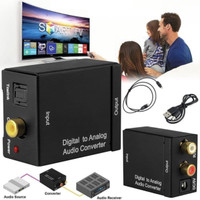 DIGITAL TO ANALOG AUDIO CONVERTER TOSLINK OPTICAL COAXIAL TO RCA TV