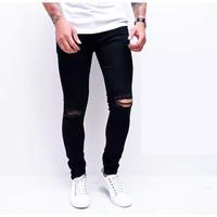 celana pria ripped jeans hitam sobek lutut