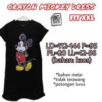 Crayon Mickey Dress XXL Baju Rumah Wanita Big Size Jumbo Besar