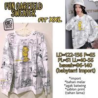 Fun Garfield Sweater XXL Atasan Wanita Baju Hangat Big Size Jumbo