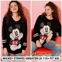 Mickey Stripes Sweater XXL Atasan Jumbo Wanita Ukuran Besar Lucu Jumbo