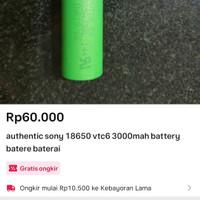 authentic sony 18650 vtc6 3000mah battery batere baterai