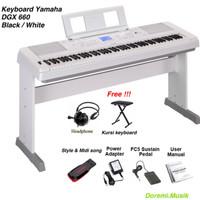 Keyboard Yamaha DGX 660 Black/ White original resmi Paket complite