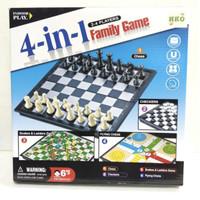 4 in 1 Family Game Mainan Board Game Catur Othello Ular Tangga Ludo