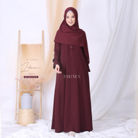 ZELVIA DRESS MAROON AMIMA GAMIS SAJA GAMIS POLOS SEMI FORMAL