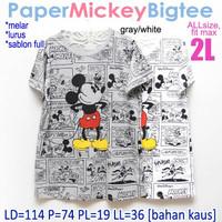 Paper Mickey Bigtee XXL 2L Kaos Atasan Wanita Rumah Ukuran Jumbo