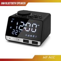 Jam Meja Bluetooth Speaker Alarm FM Radio Dual USB Charge TF Card