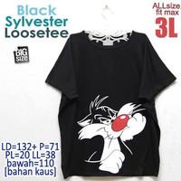 Black Sylvester Loosetee 3L Kaos Atasan Wanita Rumahan Ukuran Besar
