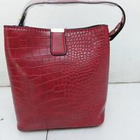 Tas Casual / Hand Bag Wanita Pola Retro Buaya - Red