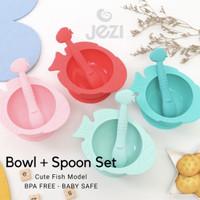 Baby Bowl Spoon Set Mangkok Sendok Bayi 1 Set Jezi Silikon