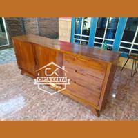 Meja Bufet TV Nakas Cabinet Buffet Minimalis Retro Mebel Jati Natural