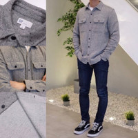 Kemeja GAP Cozy Twill Flannel Shirt Dark Grey Marl Original