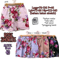 Rose Shortie fit 40 Celana Pendek Wanita Santai Rumah Jumbo Bigsize