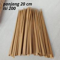 Tusuk Sate Kambing Gepeng 20cm isi 200 / Tusuk Sate Bambu Murah