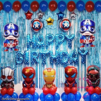 Set Paket balon foil ulang tahun avengers birthday iron pesawat cowo
