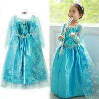 baju anak perempuan/dress anak/baju pesta Frozen blue