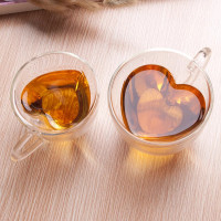 Cangkir Kopi Teh Double Glass Love Hati - 150ml