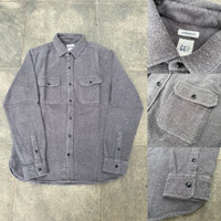 Kemeja GAP Standard Fit Heavyweight Flannel Shirt Dark Grey Original