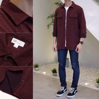 Kemeja GAP Cozy Twill Standard Fit Flannel Shirt Maroon Marl Original
