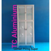 Lemari Piring Aluminium Super Kaca 2 Pintu LPS 809- 66 x 38 x 168 Cm