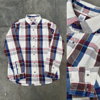 Kemeja GAP Heavyweight Flannel Plaid Shirt Beige Brown Blue Original