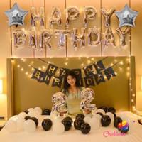 Paket set balon dekorasi ulang tahun birthday silver black LED fancy