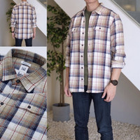 Kemeja GAP Heavyweight Flannel Plaid Shirt White Beige Original