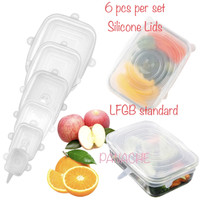 PANACHE 6 pcs/set Food Grade Square Silicone Lids Tutup Wadah Silicon