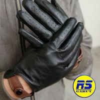 Sarung tangan kulit asli sarung tangan motor (RS-303) - Hitam, L