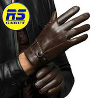 Sarung tangan kulit asli sarung tangan motor (RS-302) - Hitam, S