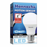 Lampu LED sensor gerak / Motion sensor Hannocsh 13 watt Cahaya putih