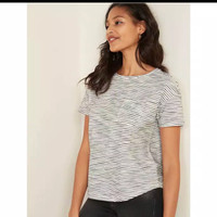 Kaos Wanita Gap Striped Grey Pakaian Branded Original