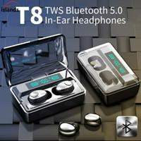 Handsfree Bluetooth Wireless JBL TWS T8 IPX7 5.0 LED Digital