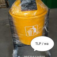 tempat /tong sampah fiber besar bulat pilah 1(single)- 50 liter - Merah