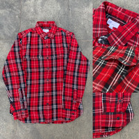Kemeja GAP Heavyweight Flannel Plaid Shirt Red White Black Original
