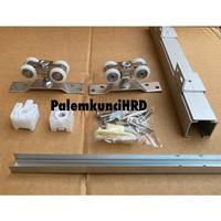 Rel pintu dorong sliding geser gantung J3 D3 180cm Aluminium Roda Set