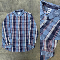 Kemeja GAP Heavyweight Flannel Plaid Shirt Light Blue White Original