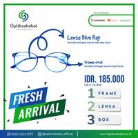 Kacamata Frame Oval + Lensa Blue Ray