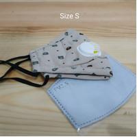 Masker Anak PM 2.5 Single Valve Size S Incld Filter - Khaki Bear