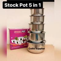 5 pcs Stock Pot Stainless Steel Ware (1 set 5 pcs)