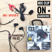 Paket Mic Clip On Splitter U 3,5 mm + Handsfree JBL PM02
