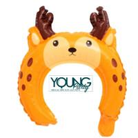 Balon Bando anak karakter Rusa/Balon foil headband