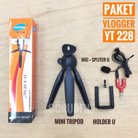 Paket Youtube Vlog Tripod Yunteng YT 228 Mic Clip On Spliter U 3,5 mm