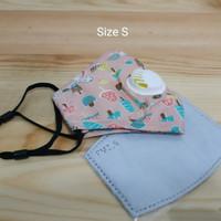 Masker Anak PM 2.5 Single Valve Size S Incld Filter - Peach Ice Cream